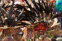 Man from Chimbu Province with Stephanie's Astrapia Bird of Paradise plumes and other feathers in his headdress..Mount Hagen, Western Highlands Province, Papua New Guinea.