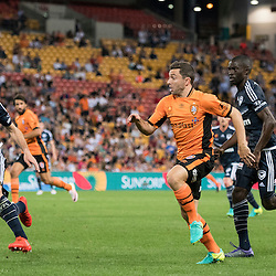 BRISBANE, AUSTRALIA - OCTOBER 7: Tommy Oar of the Roar chases the ball during the round 1 Hyundai A-League match between the Brisbane Roar and Melbourne Victory at Suncorp Stadium on October 7, 2016 in Brisbane, Australia. (Photo by Patrick Kearney/Brisbane Roar)