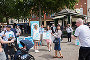 BEATRICE GRANT, OLIVIA GRANT, ALICE GRANT,  Brexit party campaigning in Peterborough before the byelection caused by the jailing of the local MP for a lying about a speeding offense.  1 June 2019