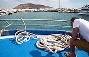 Approaching harbour at Caleta de Sebo, La Isla Graciosa, Lanzarote, Canary Islands, Spain