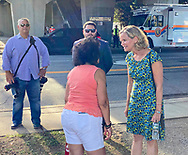 Bellmore, New York, U.S.  September 25, 2021.  Nassau County Executive LAURA CURRAN speaks with, and poses for photos with, visitors at the 34th Annual Bellmore Family Street Festival.