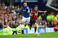 Adam Smith of Bournemouth (r) breaks away from Gylfi Sigurdsson of Everton. Premier league match, Everton vs Bournemouth at Goodison Park in Liverpool, Merseyside on Saturday 23rd September 2017.<br /> pic by Chris Stading, Andrew Orchard sports photography.