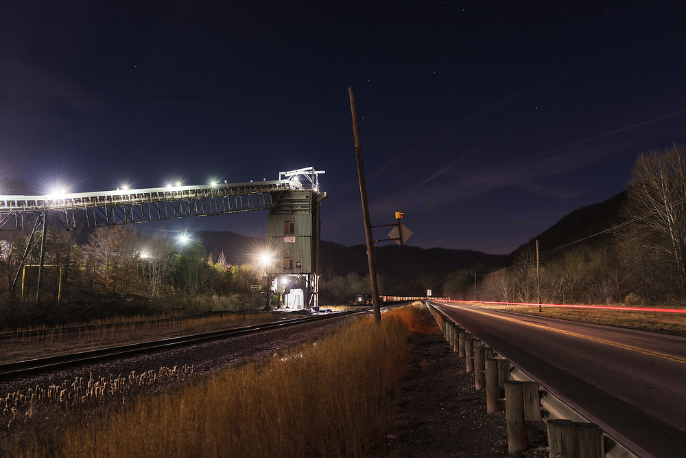 The Mammoth Coal Processing Plant is seen in a long exposure. Route 60, Kanawha County, West Virginia.