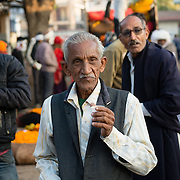 Indian man at flower market in Jaipur