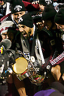 Colorado Captain Pablo Mastroeni (with Trophy) gets ready to lift the 2010 MLS Cup after his team, the COlorado Rapids, defeated FC Dallas 2-1 at BMO Field in Toronto.