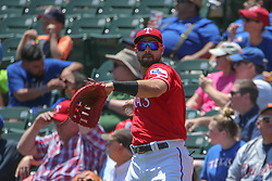 May 9, 2018 - Arlington, TX, U.S. - ARLINGTON, TX - MAY 09: Texas Rangers first baseman Joey Gallo (13) throws the ball during the game between the Detroit Tigers and the Texas Rangers on May 9, 2018 at Globe Life Park in Arlington, TX. (Photo by George Walker/Icon Sportswire) (Credit Image: © George Walker/Icon SMI via ZUMA Press)