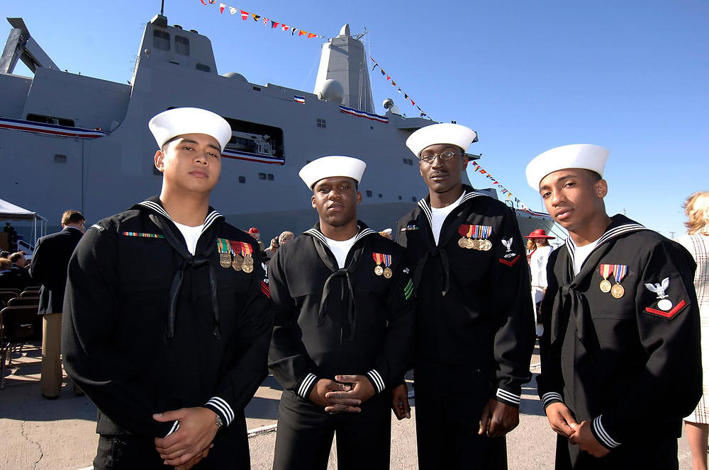 Ingleside, Texas January 14, 2006:  U.S. Navy sailors at the commissioning of the USS San Antonio (LPD-17) Amphibious Transport Dock ©Bob Daemmrich