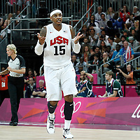 02 August 2012: Carmelo Anthony shrugs his shoulders after scoring his 10th three points shots during 156-73 Team USA victory over Team Nigeria, during the men's basketball preliminary, at the Basketball Arena, in London, Great Britain.