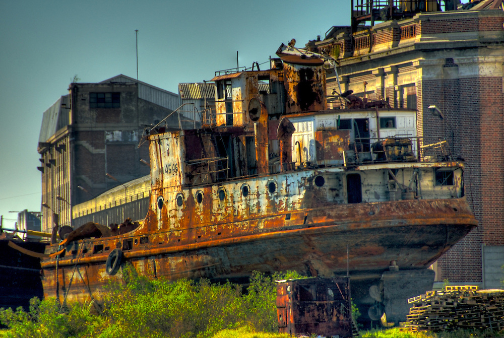 Rusted Boat at Shipyard, in the Riachuelo in La Boca, Buenos Aires, Argentina