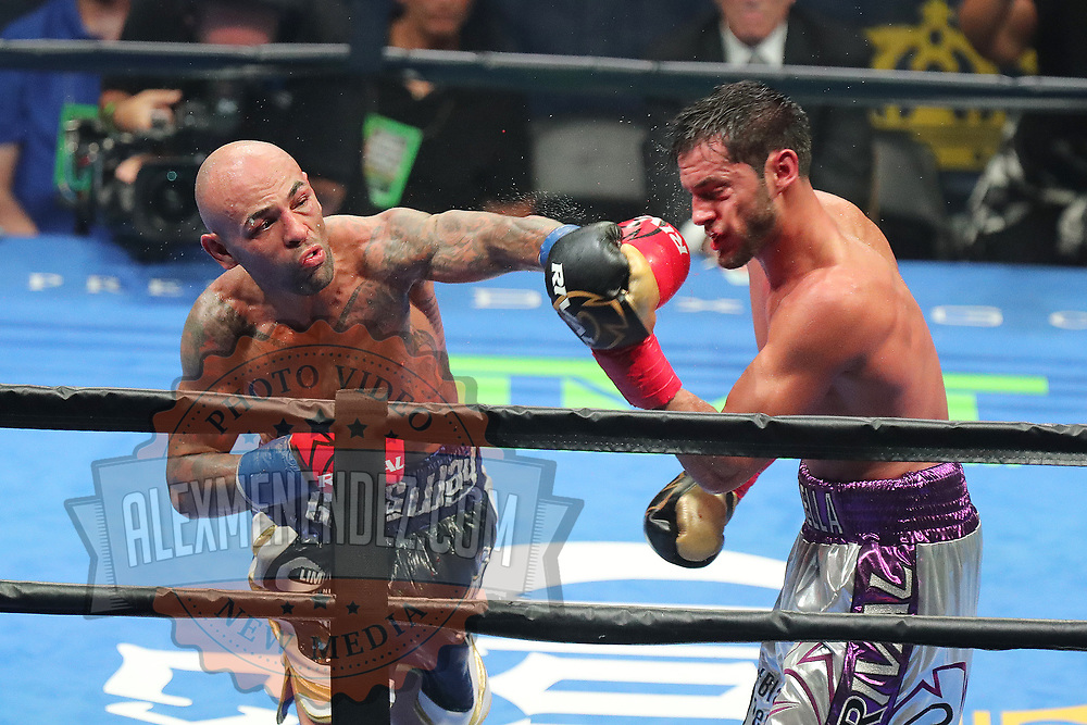 Luis Collazo throws a left hand to the face of Bryant Perrella during a Premier Boxing Champions fight on Saturday, August 4, 2018 at the Nassau Veterans Memorial Coliseum in Uniondale, New York.  Collazo would go on to win the bout. (Alex Menendez via AP)