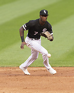 CHICAGO - AUGUST 10:  Tim Anderson #7 of the Chicago White Sox fields against the Oakland Athletics on August 10, 2019 at Guaranteed Rate Field in Chicago, Illinois.  (Photo by Ron Vesely)  Subject:   Tim Anderson