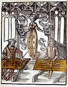 Pythagoras (6th century BC), right, using counting table, competes against Boethius (Boece) using algorithms  for speed at calculation. Behind them hovers the figure of Arithmetic From 'Margarita Philosophica' Basle, 1508.  Hand-coloured woodcut.