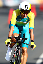 Australia's Katrin Garfoot crosses the line in the Women's Individual Time Trial during the Women's Individual Time Trial at Currumbin Beachfront during day six of the 2018 Commonwealth Games in the Gold Coast, Australia.