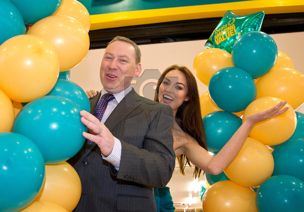 Repro Free: 01/11/2012.Model Daniella Moyles is pictured with Brendan Doyle, Business Manager, Dealz Ireland at the launch of the new Dealz store in Dun Laoghaire, making this the 21st Dealz store to open in Ireland to date.  Situated in Bloomfield Shopping centre, Dealz Dun Laoghaire has created 30 new Irish jobs, brining the total number of jobs created in Ireland to 550. Commenting at the new store opening, Dealz business manager Brendan Doyle said: ?We are very excited to be expanding the Dealz portfolio in Ireland with the opening of our new store in Dun Laoghaire. Dealz is committed to brining amazing value to customers every day and we are looking forward to expanding further across the republic of Ireland. Pic Andres Poveda.