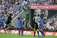 FA Cup Final sponsored by E.On, Cardiff City v Portsmouth at Wembley Stadium, North London on Sat 17th May 2008. Portsmouth goalkeeper David James claims the ball.
