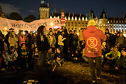 Extinction Rebellion occupation of Chatelet in central Paris. Part of the International uprising and resistance against Climate Change Crisis across the world. Involving people's assemblies 'Assemblée Citoyonne' and occupations. October 2019.