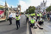 Police intervened rapidly as Members of Extinction Rebellion (XR) drove a truck right outside the main entrance of Westminster Palace, Houses of Parliament in central London. XR activists had loaded a pink boat 'TELL THE TRUTH' in the truck. Dozens of XR members had chained themselves on the boat already. Thursday, Sept 10, 2020 - marks final 10th day of rebellion in London. Environmental nonviolent activists group Extinction Rebellion enters its 10th and final day of continuous ten days protests to disrupt political institutions throughout peaceful actions swarming central London into a standoff, demanding that central government obeys and delivers Climate Emergency bill. (VXP Photo/ Vudi Xhymshiti)