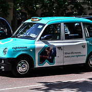 London Taxi once call as Black Cab now with many colour and model at Pall Mall  27 June 2019,London, UK