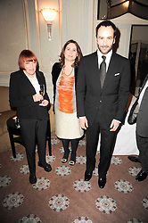 Left to right, MARY QUANT, ALEXANDRA SHULMAN and TOM FORD at a dinner hosted by Vogue in honour of photographer David Bailey at Claridge's, Brook Street, London on 11th May 2010.
