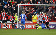 Goal scored by Sheffield United's striker Billy Sharp during the EFL Sky Bet Championship match between Sheffield Utd and Leeds United at Bramall Lane, Sheffield, England on 10 February 2018. Picture by Paul Thompson.