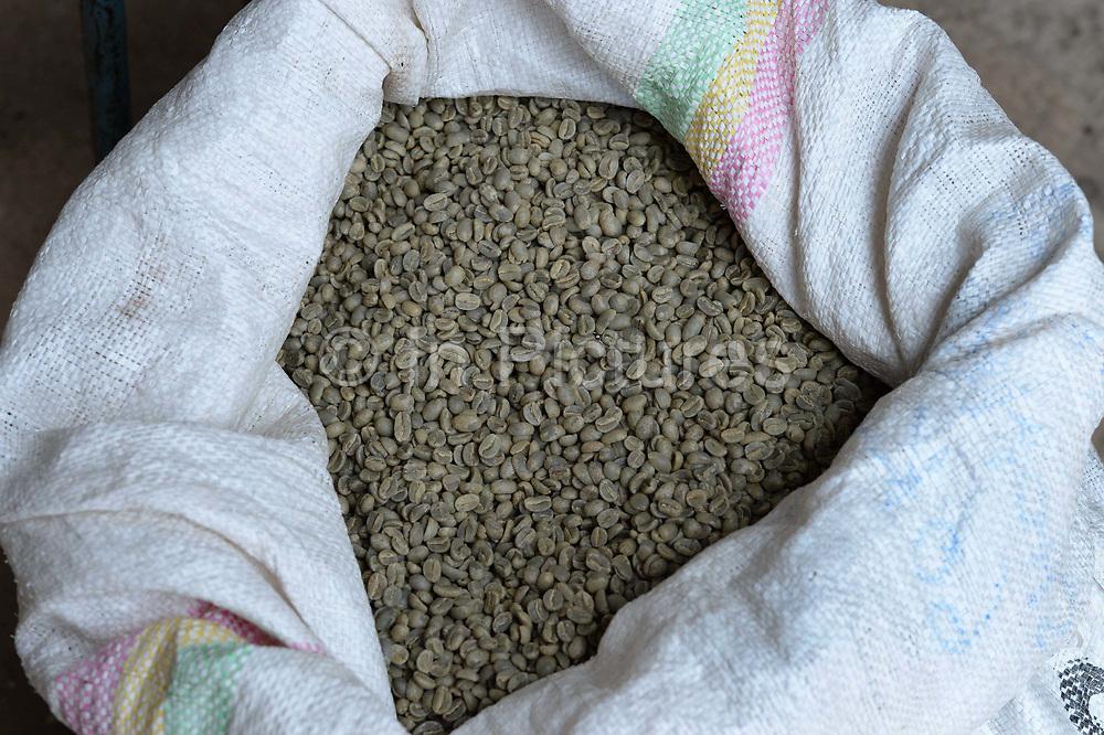 Rwanda 2014 Kigali. Coffee beans in a sack, now an important export crop for Rwanda.