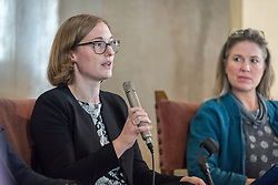 1 December 2019, Madrid, Spain: Amanda Kron, expert on climate change and environment with the UNHCR shares remarks, as representatives of various faiths gather in the Iglesia de Jesús (Church of Christ) of the Iglesia Evangélica Española (Evangelical Church of Spain) for an interfaith dialogue and prayer service on the eve of the United Nations climate conference (COP25) in Madrid, Spain.