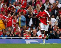 Photo: Richard Lane/Richard Lane Photography. Arsenal v Real Madrid. Emirates Cup. 03/08/2008. Arsenal's Emmanuel Adebayor celebrates his penalty goal.