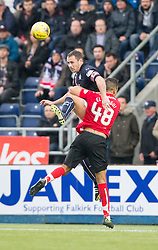 Falkirk's David McCracken and Dunfermline's Farid El Alagui. Falkirk 2 v 1 Dunfermline, Scottish Championship game played 15/10/2016, at The Falkirk Stadium.