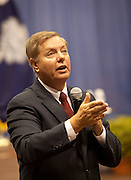 Sen. Lindsay Graham  answers a question from the audience during a health care town hall meeting with fellow Republican Sen. John McCain (R-AZ)September 14, 2009 at the Citadel in Charleston, SC.