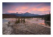 Beautiful sunrise in Jasper, Canada reflected in the Athabasca River