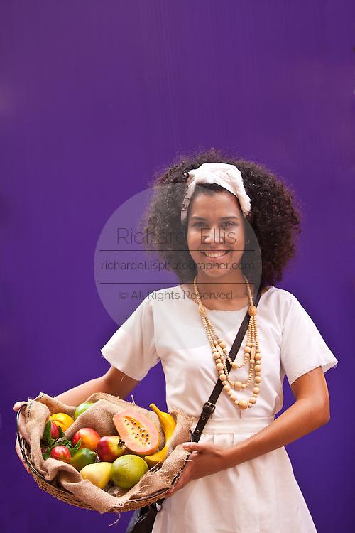 A woman dressed in traditional Puerto Rican costume San Sebastian Festival in San Juan, Puerto Rico.