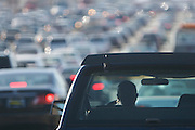 Traffic jam on a freeway in Los Angeles, California.
