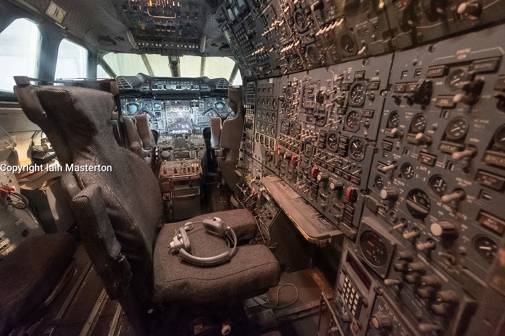 Cockpit interior of British Airways Concorde on display in hanger at National Museum of Flight at East Fortune Airfield in East Lothian, Scotland, United Kingdom
