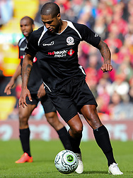 Glen Johnson in action for the Gerrard XI - Photo mandatory by-line: Matt McNulty/JMP - Mobile: 07966 386802 - 29/03/2015 - SPORT - Football - Liverpool - Anfield Stadium - Gerrard's Squad v Carragher's Squad - Liverpool FC All stars Game