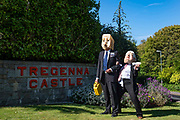 Ocean Rebellion staged a theatrical action with a Boris Johnson head and an Oilhead having an afternoon tea for two at the Tregenna Castle Hotel in Carbis Bay on 30th May 2021 in St Ives, United Kingdom. The G7 delegates will be staying at the Tregenna Castle Hotel for the upcoming summit which will be held in Carbis Bay between June 11-13. The theatrical protesters were calling out British politics involvement with the fossil fuel industry. The summit will see world leaders gather to discuss some of the most pressing challenges facing us, from climate change to tackling the ongoing Covid-19 pandemic.