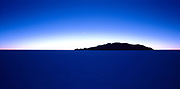 Before sunrise Salar de Uyuni, largest  salt flats in the world. Star trails and deep blue light