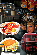 Postcards depicting all things British.  A london black taxi cab, Princess Diana, a traditional full english breakfast, fish and chips and a red Routemaster bus.