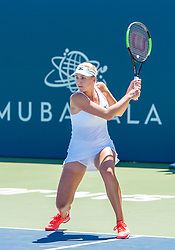 August 5, 2018 - San Jose, CA, U.S. - SAN JOSE, CA - AUGUST 05: Lyudmyla Kichenok (UKR) places a backhand during the WTA Doubles Championship match at the Mubadala Silicon Valley Classic on the San Jose State University Stadium Court in San Jose, CA  on Sunday, August 5, 2018. (Photo by Douglas Stringer/Icon Sportswire) (Credit Image: © Douglas Stringer/Icon SMI via ZUMA Press)
