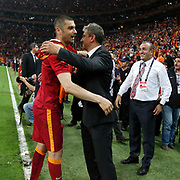 Galatasaray's Burak Yilmaz (L) celebrate victory during their Turkish Super League soccer match Galatasaray between Genclerbirligi at the AliSamiYen Spor Kompleksi TT Arena at Seyrantepe in Istanbul Turkey on Saturday, 16 May 2015. Photo by Kurtulus YILMAZ/TURKPIX