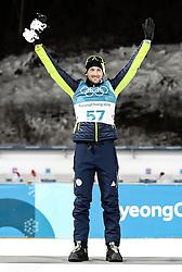 PYEONGCHANG-GUN, SOUTH KOREA - FEBRUARY 15: Silver medallist Jakov Fak of Slovenia celebrates during the victory ceremony for the Men's 20km Individual Biathlon at Alpensia Biathlon Centre on February 15, 2018 in Pyeongchang-gun, South Korea. Photo by Chine Nouvelle/SIPA