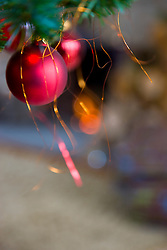 Close up of a red Christmas bauble