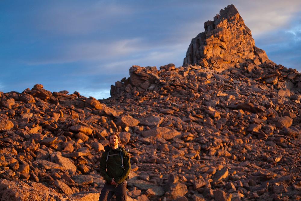 James Meldrum in the Boulder Field below Longs Peak at sunrise, Rocky Mountain National Park, Colorado.