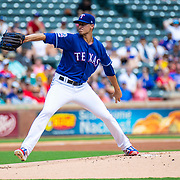 Aug 01 2019, Arlington, TX  U.S.A.  Texas starting pitcher Brett Martin (59) on the mound during the MLB game between the Seattle Mariners and the Texas Rangers 11-3 lost at Globe Life Park in Arlington,TX. Thurman James / CSM