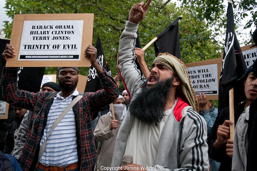 An extremist group 'Muslims Against the Crusades', led by Anjem Choudary held a protest against the threatened burning of the Quran outside the US Embassy. London UK 11/09/2010