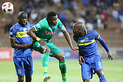 23102018 (Durban) Cape Town City player Thami Mkhize trying to block Amazulu player Bonginkosi Ntuli during the first round of the Telkom Knockout concludes on Tuesday night when Amazulu walloped the MTN8 Cup winners Cape Town City  2-0 at the King Zwelithini stadium, Durban. Amazulu making their way to the quarter finals were they would be playing against Orlando Pirates at the same venue.<br /> Picture: Motshwari Mofokeng/African News Agency (ANA)