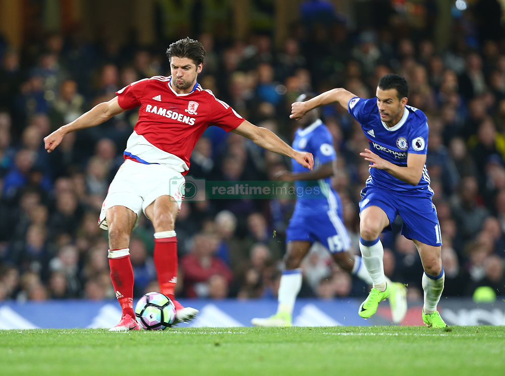 May 8, 2017 - Chelsea, Greater London, United Kingdom - George Friend of Middlesbrough .during Premier League match between Chelsea and Middlesbrough at Stamford Bridge, London, England on 08 May 2017. (Credit Image: © Kieran Galvin/NurPhoto via ZUMA Press)