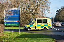 © Licensed to London News Pictures; 05/01/2021; Weston-super-Mare, UK. Ambulances arrive at Weston General Hospital. It is reported that Weston General Hospital has become a 'Covid only' hospital only admitting patients with coronavirus, and with non-covid patients diverted to other hospitals in Bristol. Weston is the smallest district hospital in the country and around half the available beds are now filled with patients with Covid-19. University Hospitals Bristol and Weston NHS Foundation Trust say this move is a temporary measure. In May 2020 there was a coronavirus outbreak at Weston hospital and 31 patients died after they caught the virus while in the hospital. The UK is now under a third national lockdown to try and restrict the spread of Covid-19 after a new strain of a more infectious Covid virus was detected late last year. Photo credit: Simon Chapman/LNP.