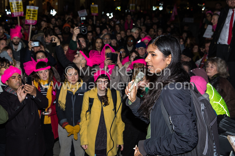 London, UK. 11th December, 2018. Ash Sarkar, Senior Editor at Novara Media, addresses protesters gathered outside the Home Office to protest against the conviction using an anti-terrorism offence under the Aviation and Maritime Security Act 1990 of the Stansted 15 following non-violent direct action to try to prevent a Home Office deportation flight carrying immigrants to Nigeria, Ghana and Sierra Leone from taking off from Stansted airport in March 2017. The judge directed the jury to disregard evidence put forward in their defence that their acts were intended to stop human rights abuses.