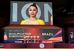 October 28, 2018 - Doha, Qatar - As the Brazil team is introduced to the crowd, FLAVIA SARAIVA was visible on the big screen during the second day of preliminary competition held at the Aspire Dome in Doha, Qatar. (Credit Image: © Amy Sanderson/ZUMA Wire)