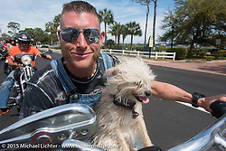 """""""Moonshiner Josh"""" Owens with his dog """"Cutie Pie"""" riding back from Tamoka State Park on his 2005 Harley-Davidson Softail during Daytona Beach Bike Week 2015. FL, USA. March 13, 2015.  Photography ©2015 Michael Lichter."""